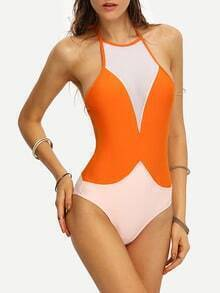 Mesh Insert Two-Tone One-Piece Swimwear