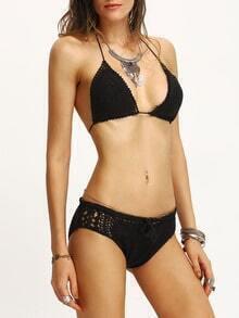 Hollow Out Crochet Triangle Bikini Set - Black
