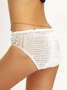 Hollow Out Crochet Bikini Bottom - White