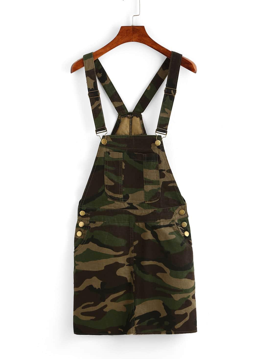 Camouflage Print Pinafore Dress Shein Sheinside