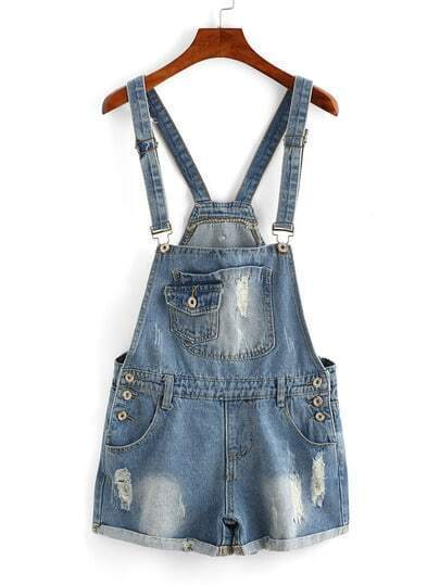 Frayed Rolled Hem Denim Pinafore Romper