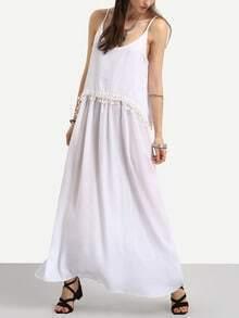 Pom Pom Trimmed Layered Swing Cami Dress