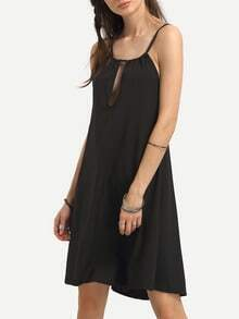 Strappy Racerback Keyhole Neck Chiffon Dress