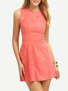 Faux Suede Sleeveless A-Line Dress
