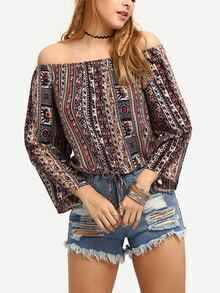 Off-The-Shoulder Tribal Print Blouse