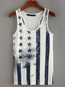 Stars and Stripes Print Racerback Tank Top