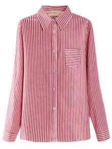 Red Buttons Front Pocket Plus Size Stripe Blouse
