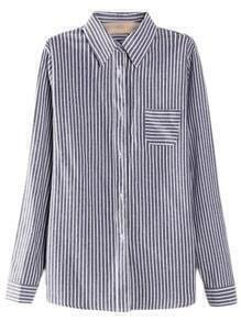 Dark Grey Buttons Front Pocket Plus Size Stripe Blouse
