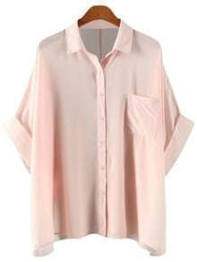 Pink Buttons Front Pocket Batwing Sleeve Chiffon Blouse