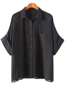 Black Buttons Front Pocket Batwing Sleeve Chiffon Blouse