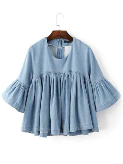 Bell Sleeve Ruffle Denim Doll Blouse