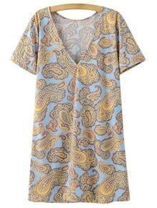Multicolor Short Sleeve V Neck Cashew Flowers Print Dress