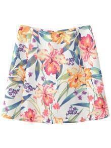 Multicolor Zipper Back Flowers Jacquard Skirt