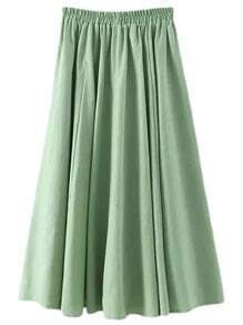 Green Elastic Waist Cotton Hemp Skirt