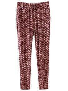 Red Pockets Elastic Waist Wave Print Pants