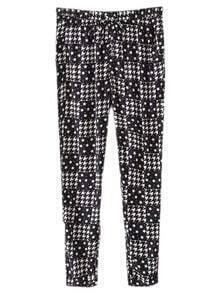 Black Pockets Elastic Waist Houndstooth Print Pants