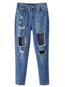 Blue Pockets Ripped Hole Denim Pants