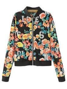 Multicolor Hollow Number Flowers Print Baseball Jacket
