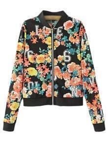 Multicolor Hollow Number Flowers Print Baseball Jacket