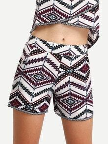 Multicolor Vintage Print Pockets Shorts