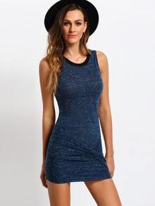 Blue Sleeveless Knot Bodycon Dress