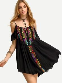 Black Cold Shoulder Embroidered Pleated Dress
