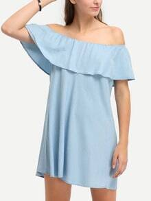 Light Blue Denim Off The Shoulder Ruffle Shift Dress