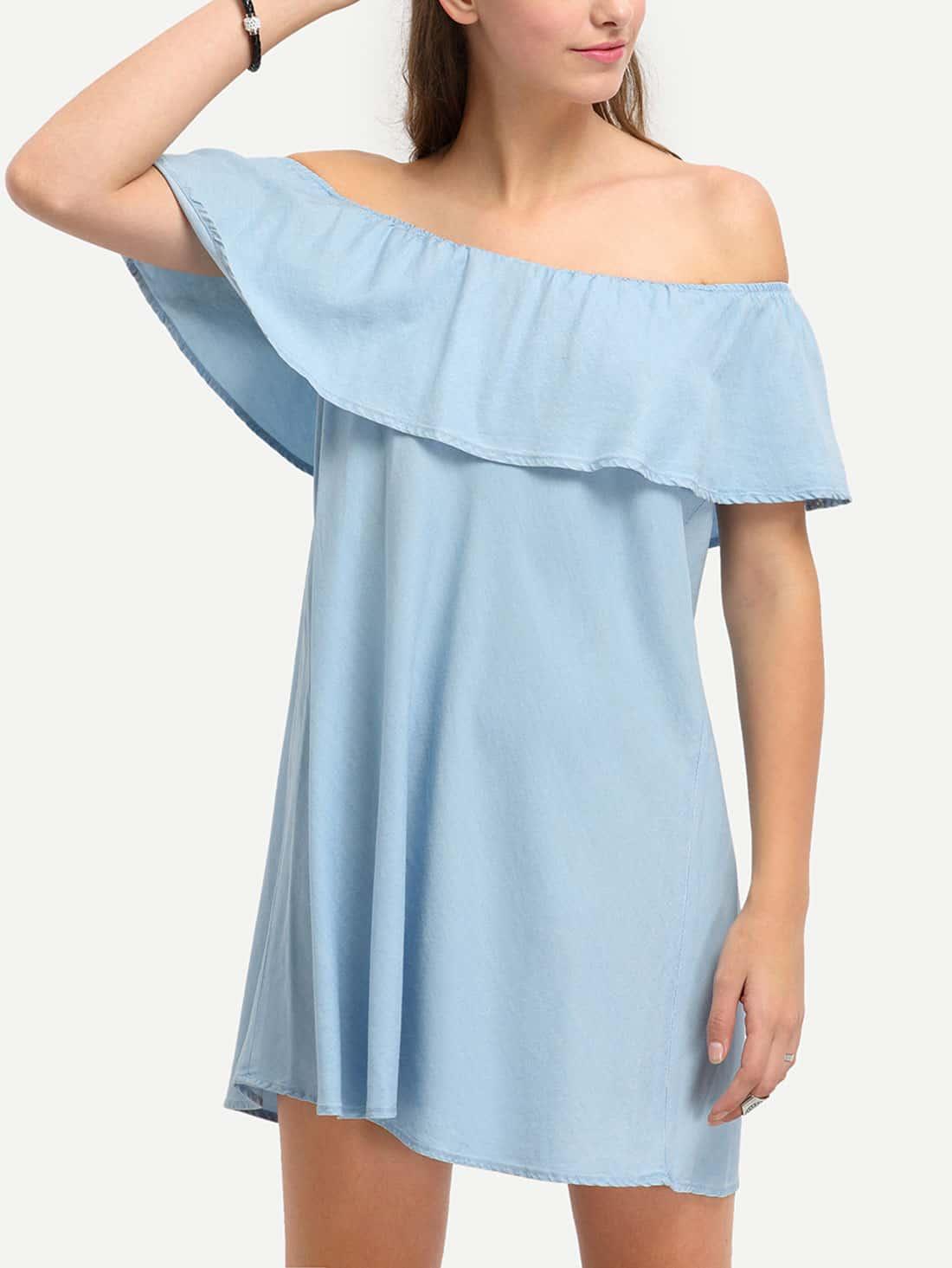 Light Blue Denim Off The Shoulder Ruffle Shift Dress dress160422701