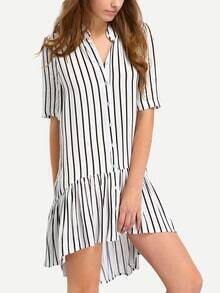 Vertical Stripe Botton Down Drop Waist Dress