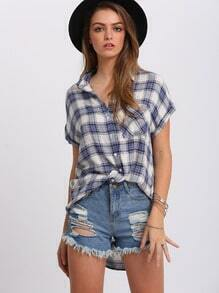 Blue Check Short Sleeve Pockets Blouse
