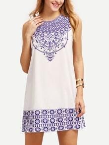 Blue Print In White Sleeveless Shift Dress