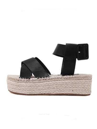 Black Open Toe Crisscross Strap Espadrille Sandals