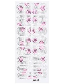Black Pink circle Bead Rhinestone Nail Sticker