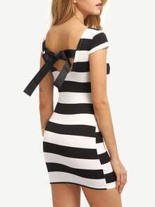 Striped Bow-Knot Back Bodycon Dress