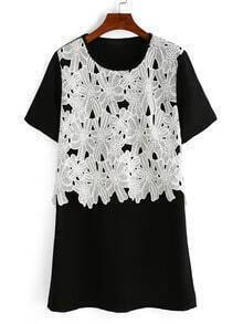 Contrast Lace Applique T-shirt Dress