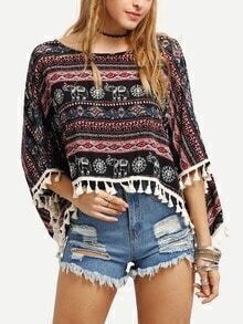 Tassel Trimmed Tribal Print Poncho Blouse