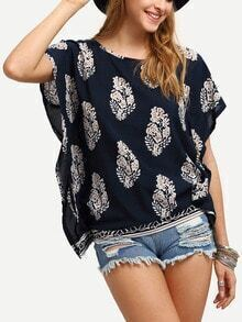 Flower Print Short Sleeve Poncho Blouse