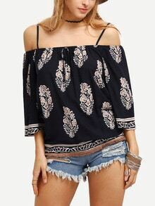 Cold Shoulder Flower Print Blouse