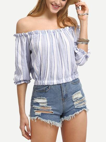 Vertical Striped Off-The-Shoulder Blouse