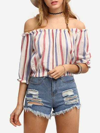 Striped Off-The-Shoulder Crop Blouse