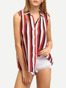 Multicolor Vertical Striped Sleeveless Blouse