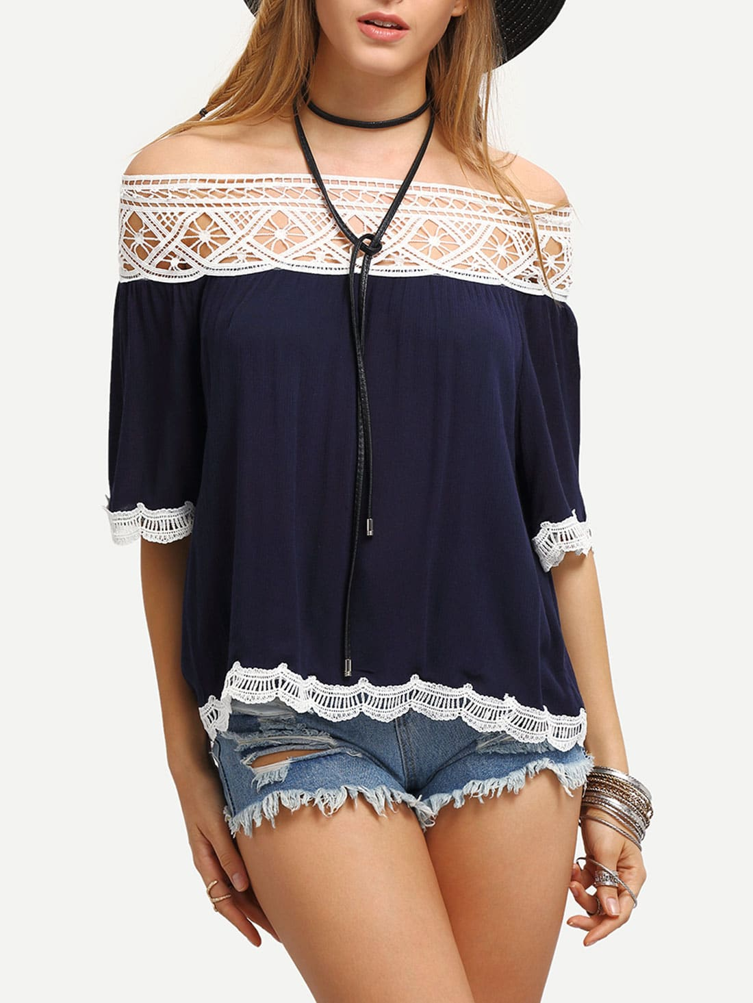 Off-The-Shoulder Contrast Lace Tirmmed Blouse
