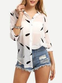 Feather Print Sheer Chiffon Blouse