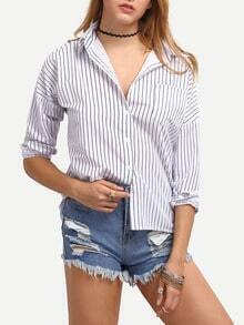 Vertical Striped Boyfriend Blouse