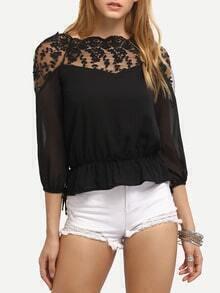Embroidery Sheer Shoulder Peplum Blouse - Black