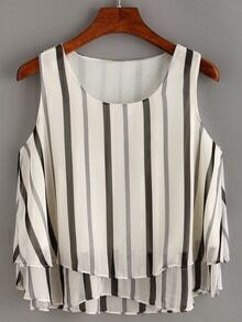 Vertical Striped Layered Chiffon Top