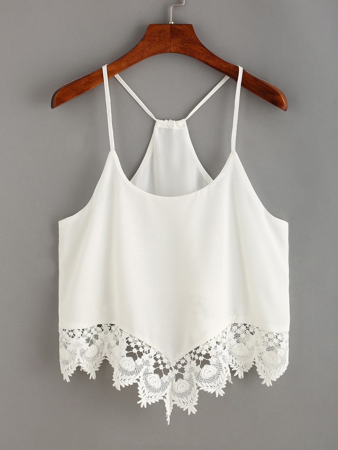 Lace Trimmed Racerback Chiffon Cami Top