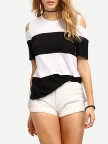 Cutout Shoulder Wide Striped T-shirt - Black