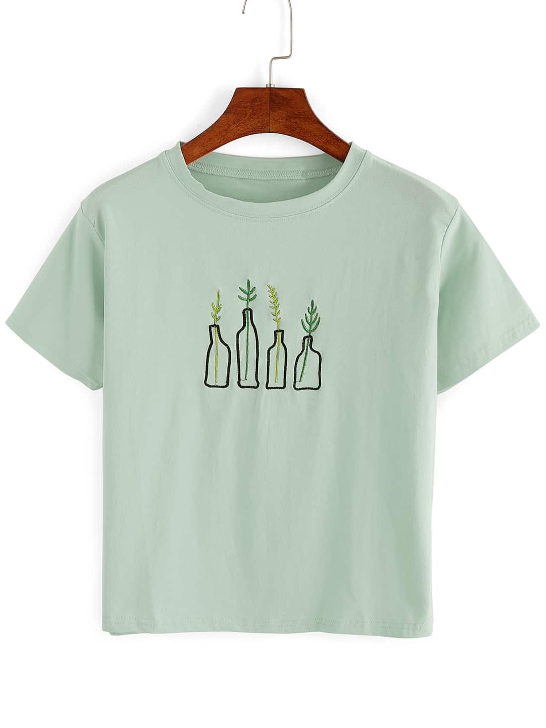 green plant embroidered t shirt shein sheinside