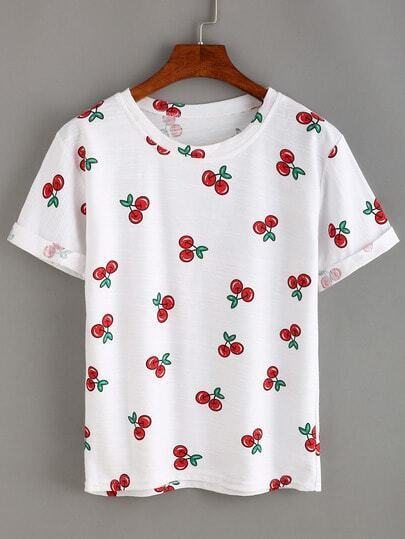 Camiseta cereza estampada